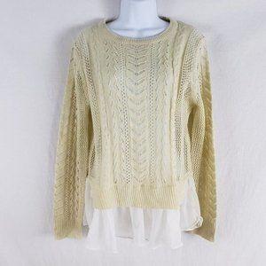 POL Sweater Aran Knit Crew Ruffle Shirt Hem Ivory